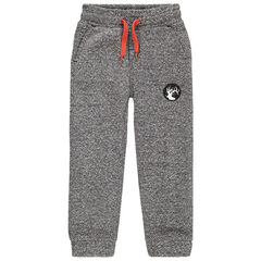Pantalon de jogging en molleton chiné avec badge