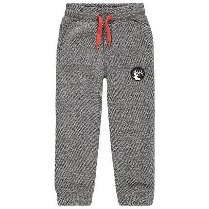 Pantalon de jogging en molleton chiné avec badge