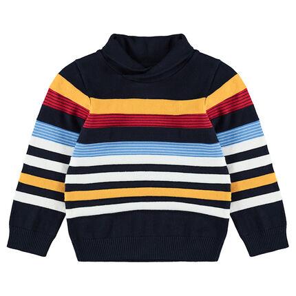 Pull en tricot col roulé avec rayures contrastées en jacquard