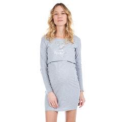Chemise de nuit pour la grossesse et l'allaitement avec message printé