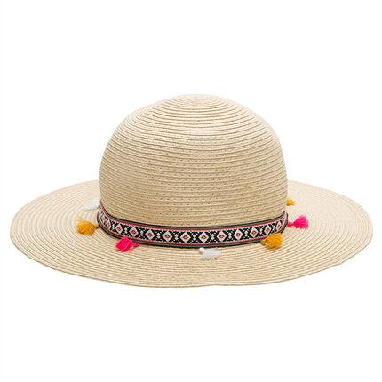 Chapeau de paille avec galon à pompons