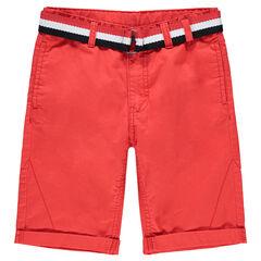 Junior - Bermuda en coton surteint avec ceinture tricolore amovible
