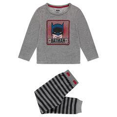 Pyjama van velours met print van ©Warner Batman en gestreepte onderzijde