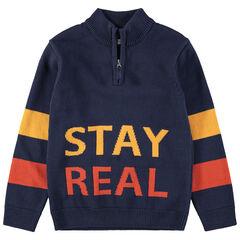 Junior - Trui van tricot met opschriften van jacquard en kraag met ritssluiting