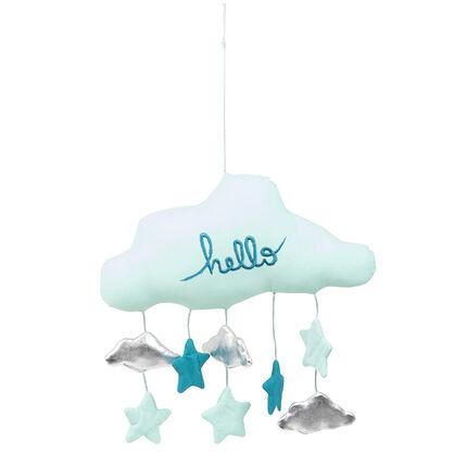 Gewatteerde mobiel in de vorm van een wolk met kleine accessoires