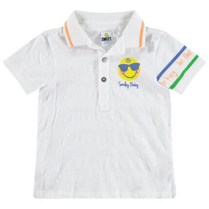 Polo met korte mouwen en Smiley-print