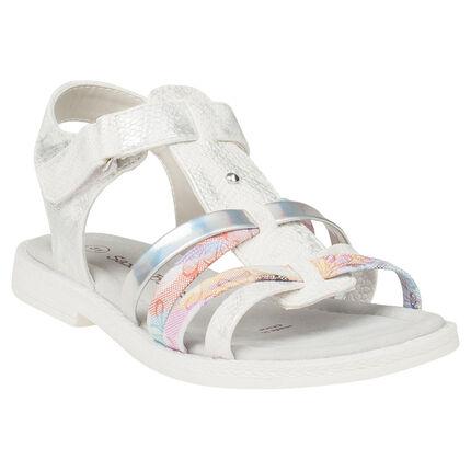 Sandalen effect veelkleurige kroko met fantasielintjes