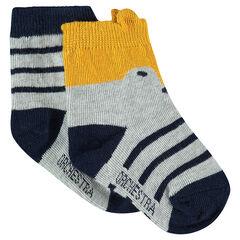 Lot de 2 paires de chaussettes avec rayures jacquard