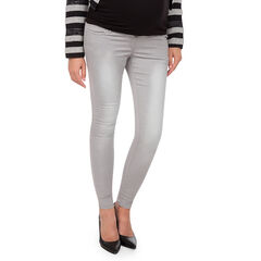Jeans van molton met used effect en hoge band