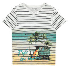 Junior - Tee-shirt manches courtes en jersey rayé avec paysage en sublimation