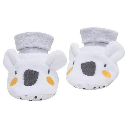 Pantoffels van velours in koalavorm met geborduurde details