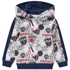 "Trui van molton met kap en baseballprint ""all-over"""