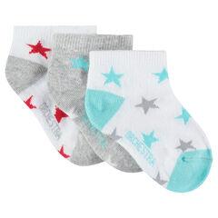 Lot de 3 paires de chaussettes courtes avec étoiles all-over