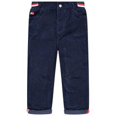 Pantalon en velours doublé jersey à taille élastiquée