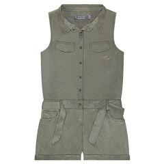 Combinaison courte en Tencel avec poches et ceinture à nouer