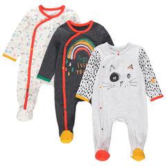 Set met 3 pyjama's van jerseystof met ritssluiting en kleurrijke fantasieprints