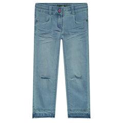 Jeans met used effect en scheuren aan de broekspijpen