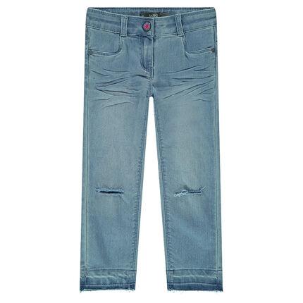 Junior - Jeans met used effect en scheuren aan de broekspijpen