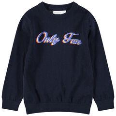 Junior - Pull en tricot avec message printé sur le devant