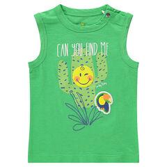 Débardeur en coton uni avec cactus et ©Smiley printés