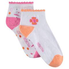 Lot de 2 paires de chaussettes assorties motif fleurs