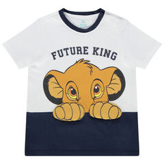 T-shirt manches courtes bicolore en coton print Simba Disney