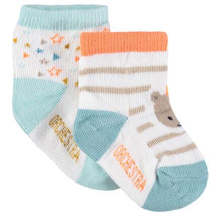 Set met 2 paar matching sokken met jacquardmotieven