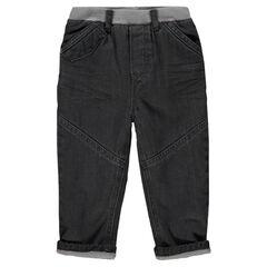 Jeans droit effet crinkle doublé micropolaire
