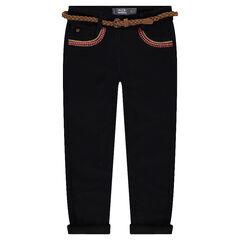 Pantalon slim en twill avec broderies et ceinture tressée amovible