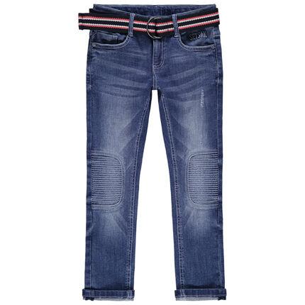 Jean effet used et crinkle à ceinture amovible colorée