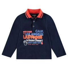 Polo manches longues en jersey avec inscription