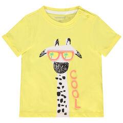 T-shirt met korte mouwen en girafprint met bril