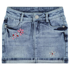 Jupe en jeans avec strass fantaisie