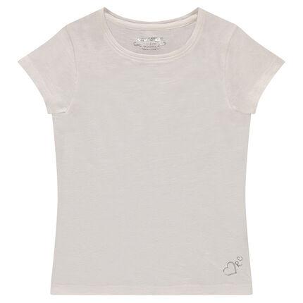 T-shirt manches courtes en jersey slub avec logo printé