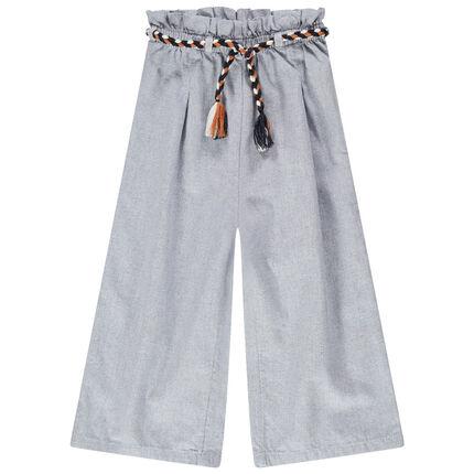 Pantalon palazzo en coton fantaisie avec ceinture tressée
