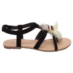 Nu-pieds effet daim avec plumes et bride tressée