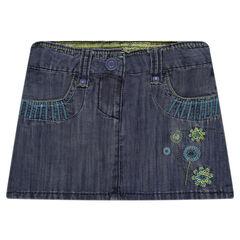 Jupe courte en jeans à broderies et sequins