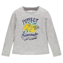 T-shirt met lange mouwen en fantasieprint met pailletjes
