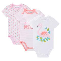 Set met 3 body's met korte mouwen uit jerseystof met print met roze flamingo's