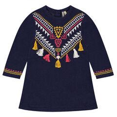 Jurk van tricot met etnisch motief van jacquard en met pompons