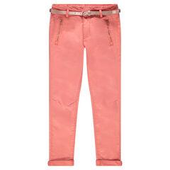 Junior - 7/8 broek van twill met zakken met ritssluiting