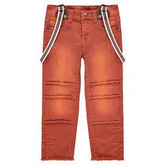 Geverfde broek met afneembare schouderbanden