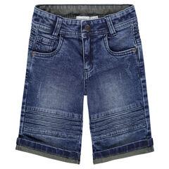 Jeansbermuda met used en crinkle-effect en sierstiksels