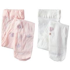 Set van 2 dunne panty's met fantasiemotief lichtroze/wit