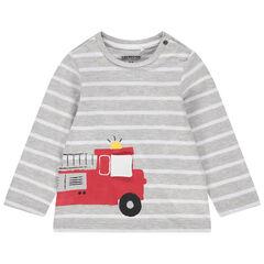 T-shirt manches longues en coton bio à rayures et camion de pompier printé