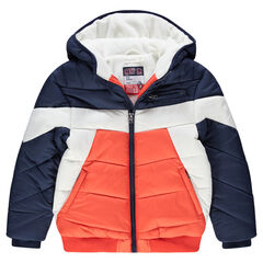 Junior - Donsjas met kap, voering van fleece, uit drie kleuren en met zakken met ritssluiting