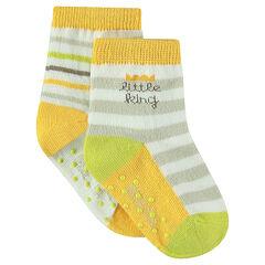 Lot de 2 paires de chaussettes à rayures jacquard