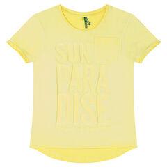 Junior - T-shirt met korte mouwen van geverfde jerseystof met print met reliëfopschrift