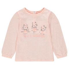 T-shirt met lange mouwen van dunne tricot met kattenprint en strikjes