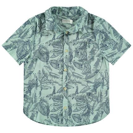 Chemise manches courtes avec imprimé jungle all-over
